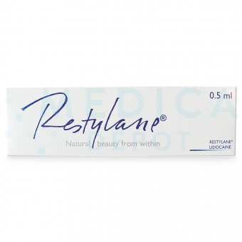 Image of RESTYLANE® .5ml w/Lidocaine 0.5 ml original box in English