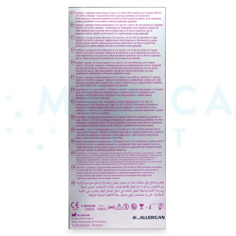 Image of JUVEDERMu00ae HYDRATE box showing contents in English, French, Spanish and other languages