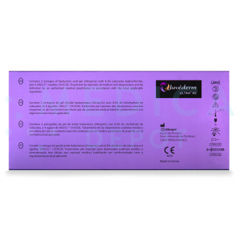 Picture of JUVEDERMu00ae ULTRA XC contents in English, Spanish and other languages