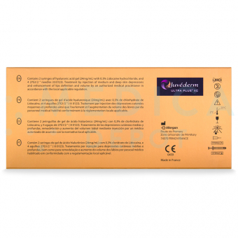 Image showing contents in box of JUVEDERMu00ae ULTRA PLUS XC in various languages